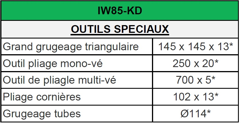 IW 85 KD OUTILS SPECIAUX